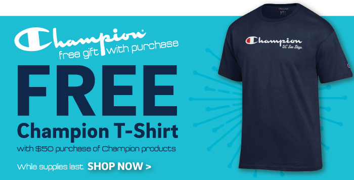 free t shirt with $50 champion purchase