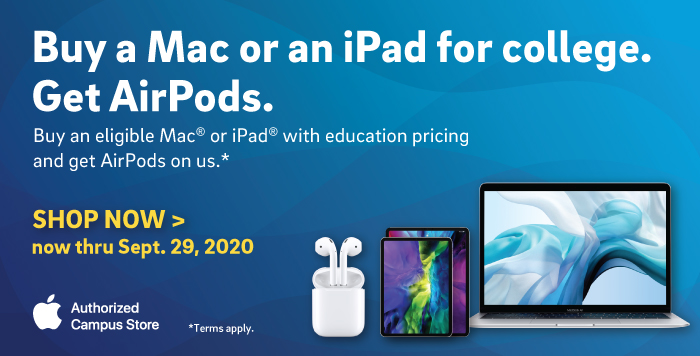 Buy a Mac or iPad, get free AirPods.