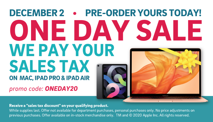 Apple 1 Day Sale: We pay your sales tax December 2