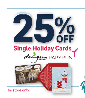 25% off Single Holiday Cards by Papyrus and Design Design